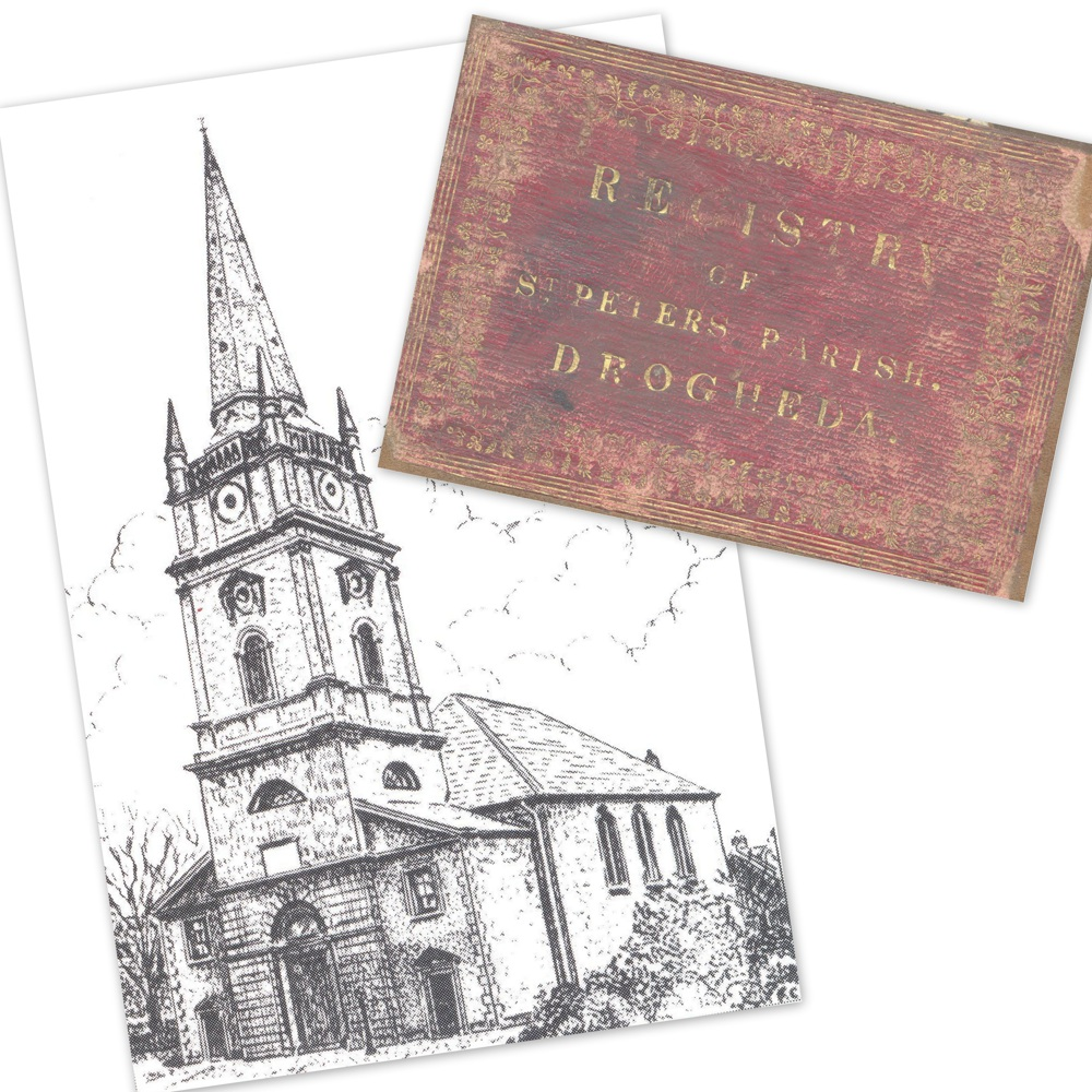 St Peter's parish church, Drogheda, and the label attached to the front cover of combined register RCB Library P854/1/2 comprising baptisms, marriages and burials 1702-1748