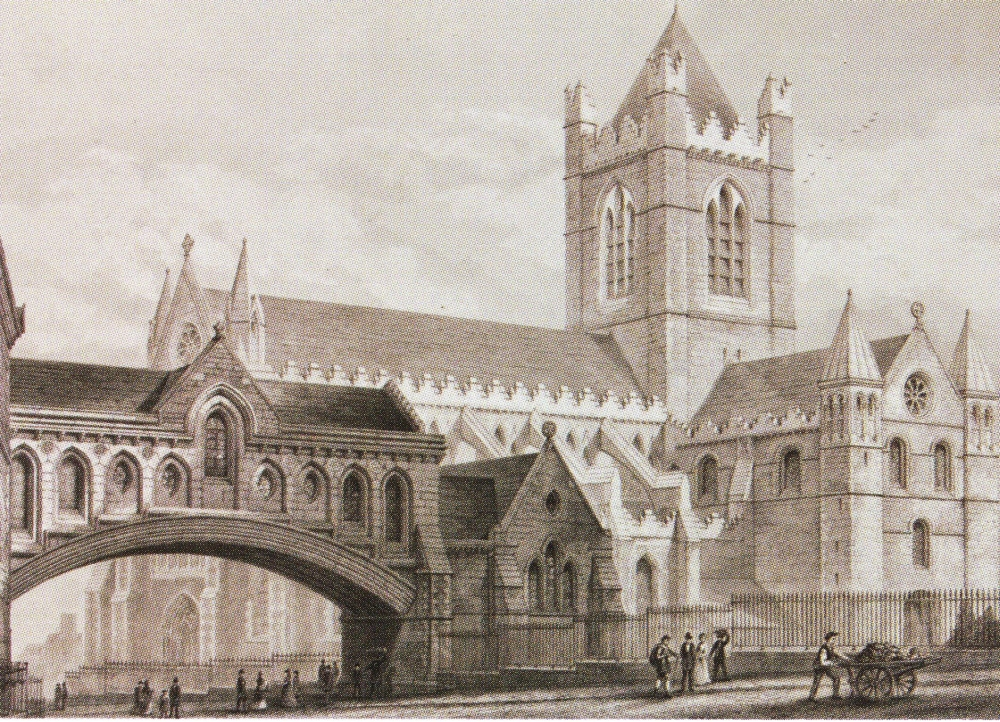 Contemporary sketch of the bridge connecting the new Synod Hall with Christ Church Cathedral, by George Edward Street, RCB Library collection.