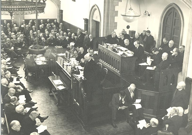 The podium of the General Synod as operating in the Synod Hall, taken by Eve Holmes, RCB Library collection (undated).