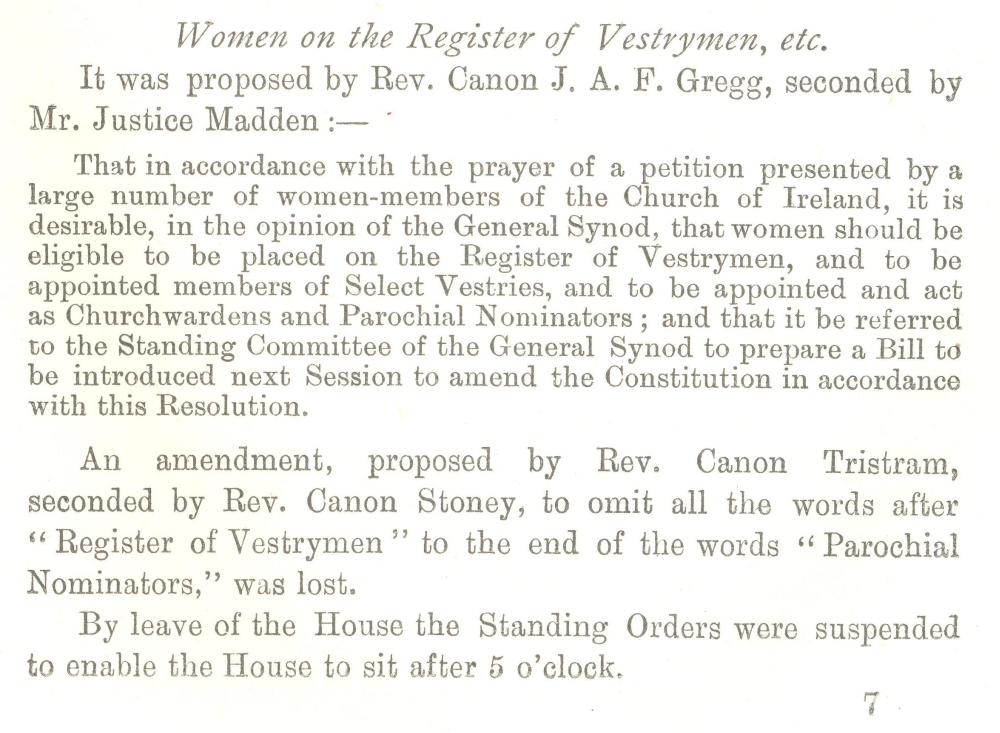 "Journal of the General Synod, 1914, containing brief report of the ""Women on the register of vestrymen"" motion."