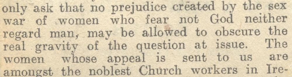 Appeals for 'no prejudice created by the sex war of women', in the Primate's address, RCB Library MS 297/17.