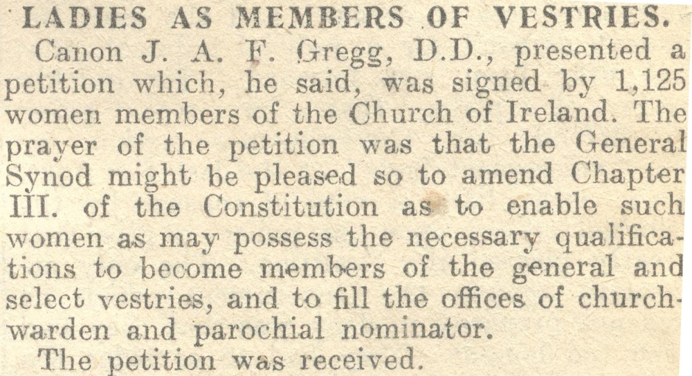 Notice of petition on the issue presented to the General Synod by Revd J.A.F. Gregg DD, RCB Library MS 297/17.