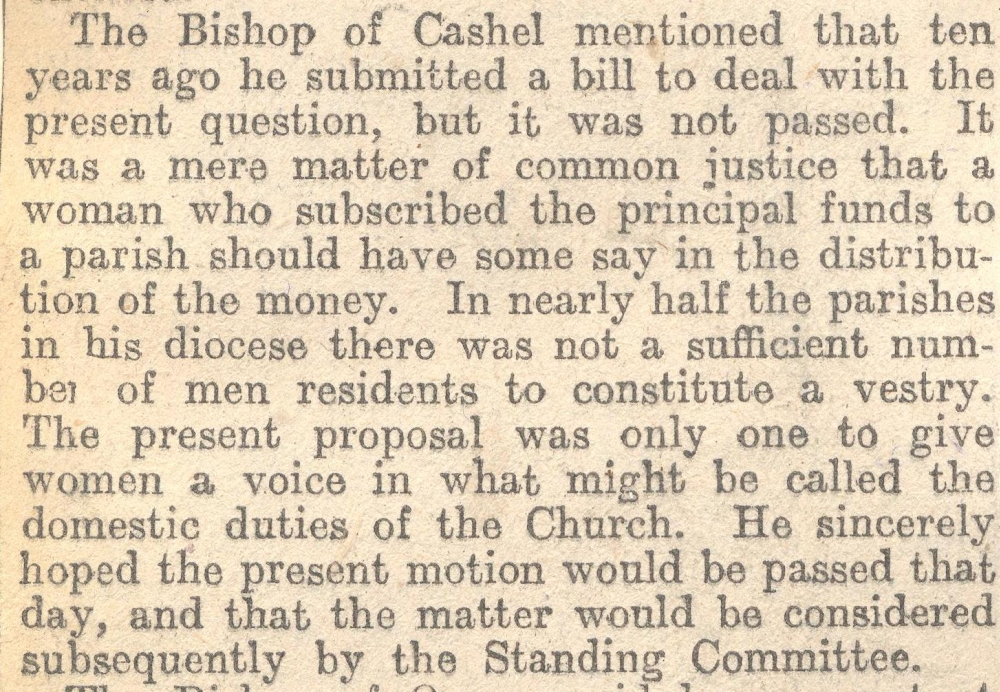 The bishop of Cashel, the Rt. Revd Henry O'Hara, appeals to 'give women a voice … in the domestic duties of the Church', RCB Library MS 297/17.