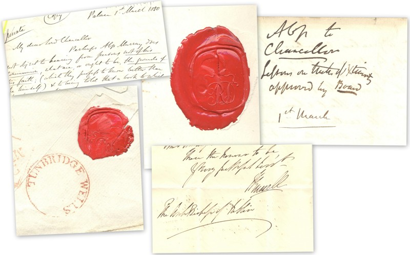 Seals bearing the initials 'RD' and various items of correspondence including outgoing letters to his chancellor, and incoming letter signed by Lord John Russell, Prime Minister