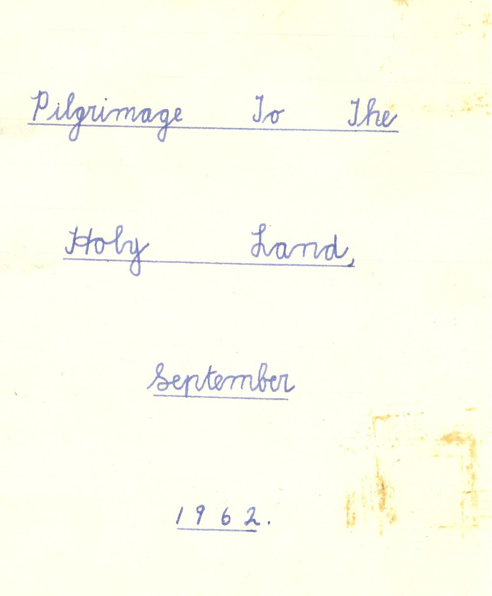 Title page from 'Pilgrimage to the Holy Land, September 1962' compiled by Patricia H. Ledbetter, RCB Library Ms 605