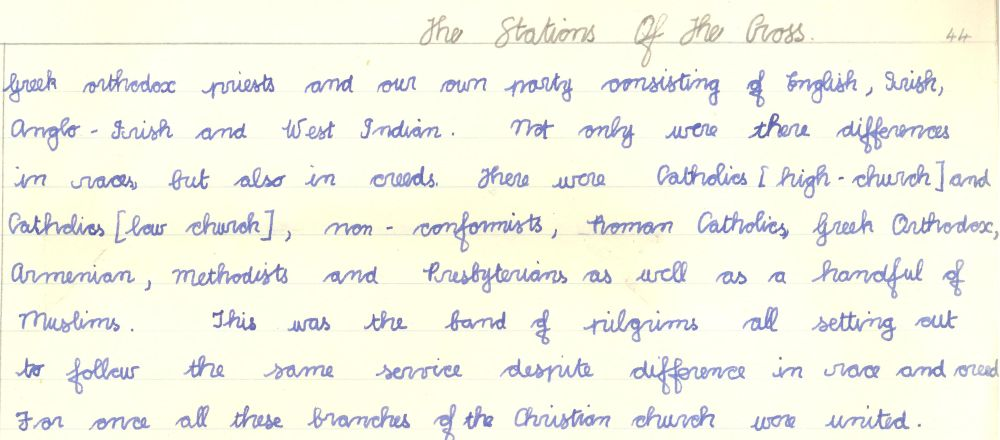 Description of the stations of the cross, September 1962, RCB Library Ms 605