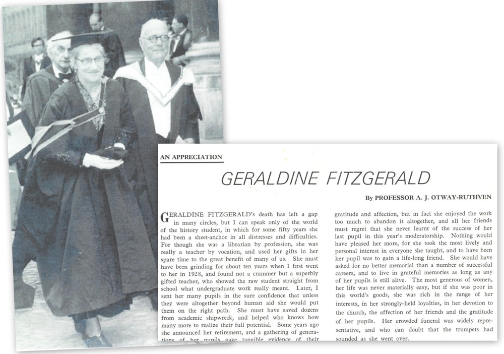 Graduation image of Miss Fitzgerald, awarded an honorary MA degree by Trinity College Dublin in 1962 for her role as RCB Librarian, together with appreciation of her life by Professor A.J. Otway-Ruthven, published after her death in the Church of Ireland Gazette, RCB Library Ms 1008/3