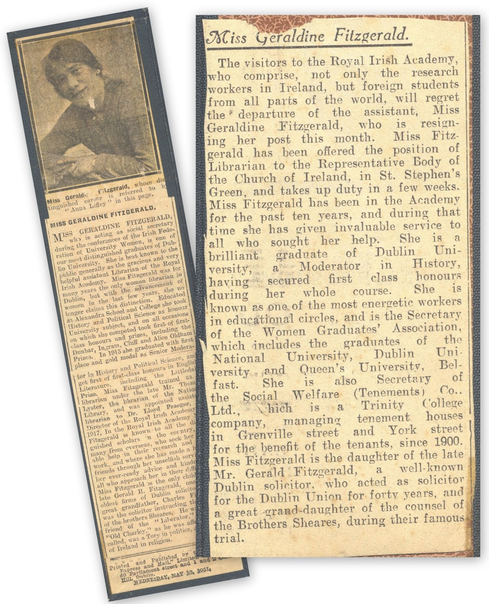 Press cuttings recounting the achievements of Miss Geraldine Fitzgerald, RCB Library Ms 1008/3