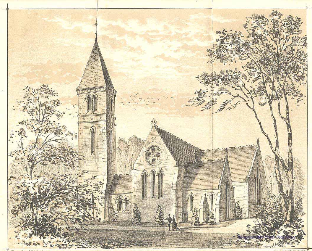 Line drawing of the church of St Phillip, Milltown parish, Dublin
