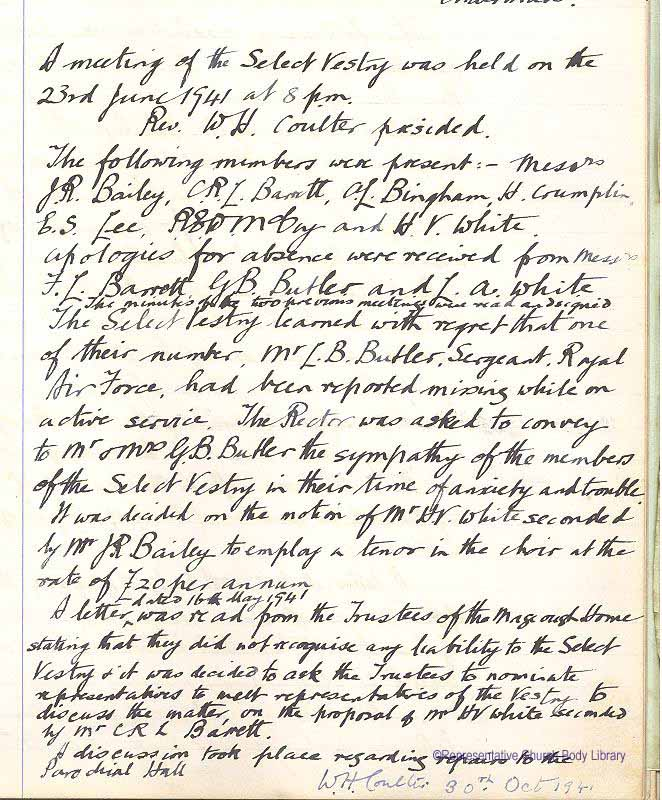 Vestry minute book Milltown parish, recording Leslie Butler missing in action, 23 June 1941