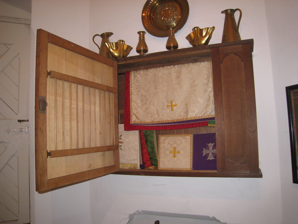 Cabinet in the vestry room of the church of St Philip, Milltown, presented in memory of Leslie Butler. We are grateful to Ruth Potterton, parishioner, for these images.