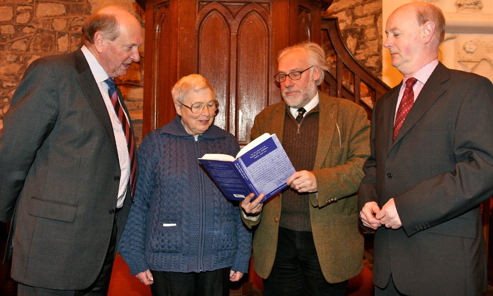 Chairman of the RCB Library, Michael Webb; editor of The Vestry Records of the Parish of St Audoen, Dublin, 1636–1702, Maighréad Ní Mhurchadha; Professor Raymond Gillespie of the Department of History at NUI Maynooth, who launched the book; and Dr Raymond Refaussé, librarian and archivist with the RCB Library in St Audoen's Church, Cornmarket, for the launch of the book.