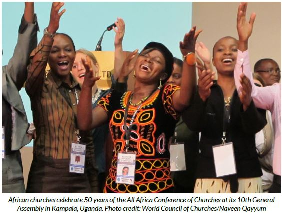 African churches celebrate 50 years of the All Africa Conference of Churches at its 10th General Assembly in Kampala, Uganda. Photo credit: World Council of Churches/Naveen Qayyum