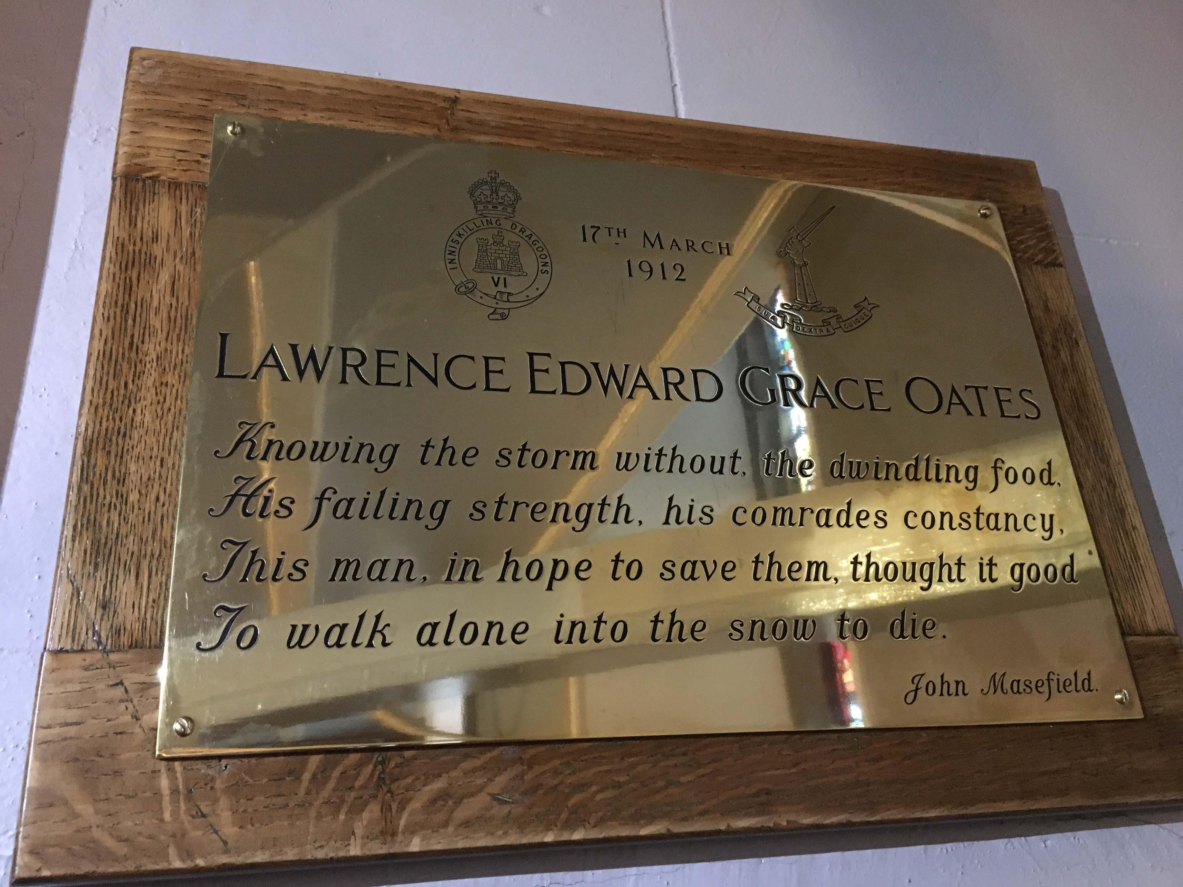 Plaque dedicated in memory of Captain Oates in Enniskillen ...