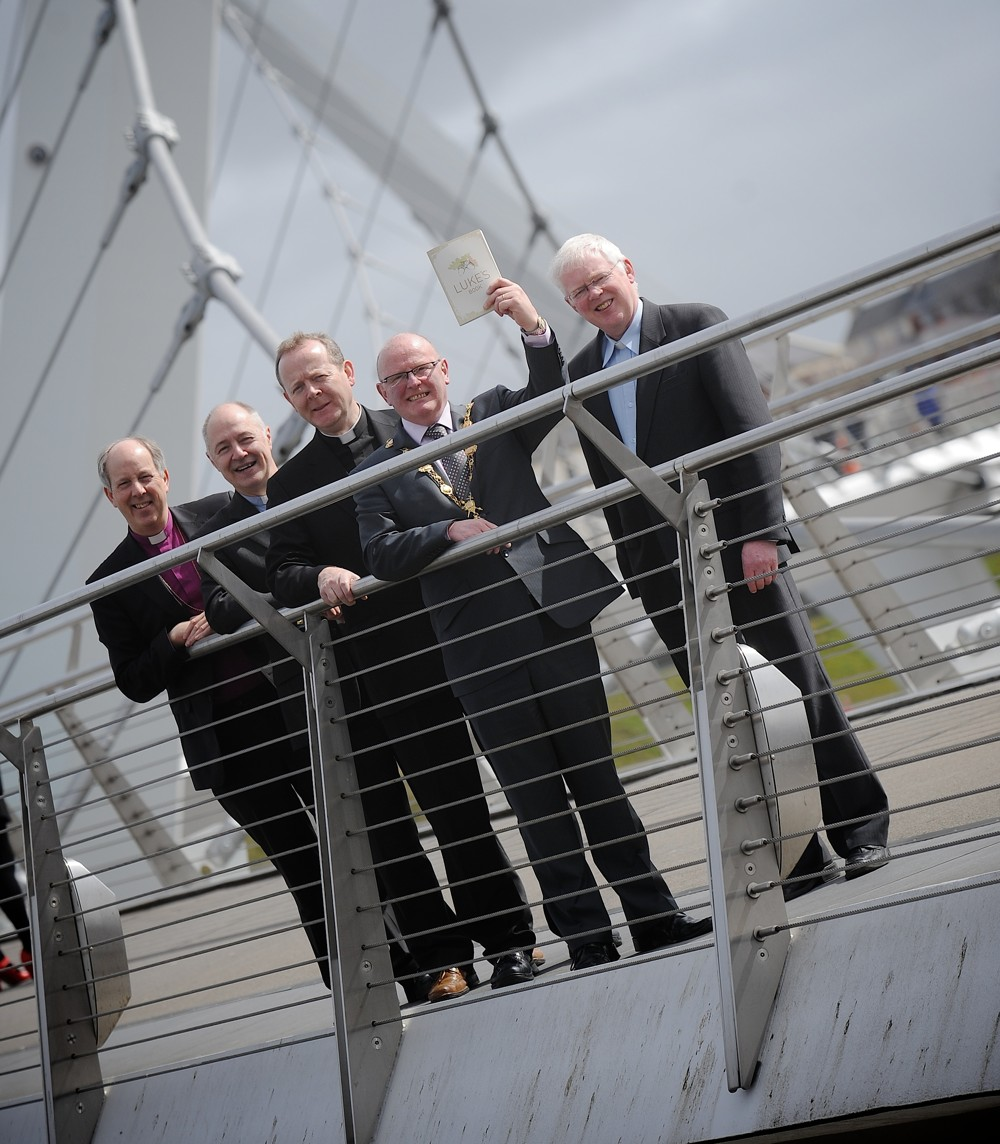 Bishop Ken Good (Bishop of Derry & Raphoe), Rev Peter Murray (Superintendant of Methodist City Mission), Monsignor Eamon Martin Mayor Kevin Campbell & Rev Dr Robert Buick - photo on The Peace Bridge.