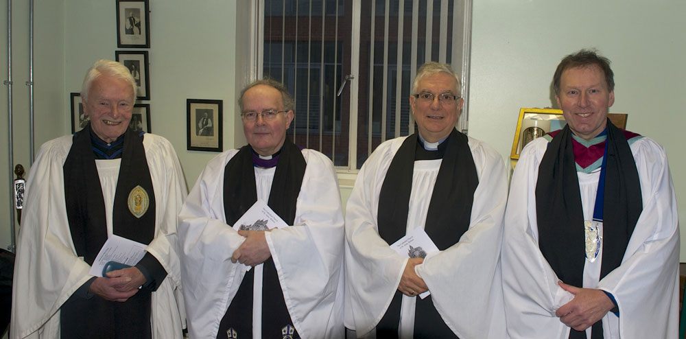the Revd Canon Jack Mercer, who was David's first rector, the new Canon Humphries, The Very Revd John Mann, Dean and the Ven Philip Patterson, Archdeacon of Down