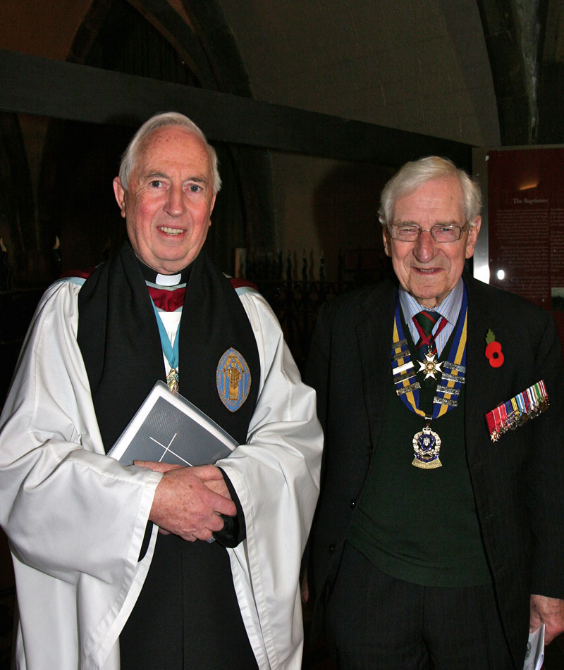 The Dean of St Patrick's Cathedral, the Very Revd Victor Stacey, and the President of the Royal British Legion in Ireland, Major General David the O'Morchoe before the Remembrance Sunday Service in the Cathedral.