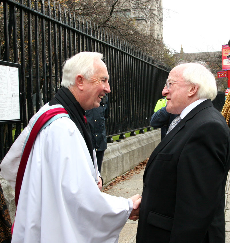 Dean Victor Stacey welcomes President Michael D Higgins to St Patrick's Cathedral for the Remembrance Sunday Service