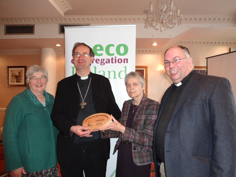 : Catherine Brennan SSL, chairperson of Eco-Congregation Ireland, presents an eco award to the Right Rev Michael Burrows, Bishop of Cashel and Ossory. Also pictured is Janet Crampton, member of the diocesan eco committee, and Rev Andrew Orr, Rector of Tullow and member of the diocesan eco committee