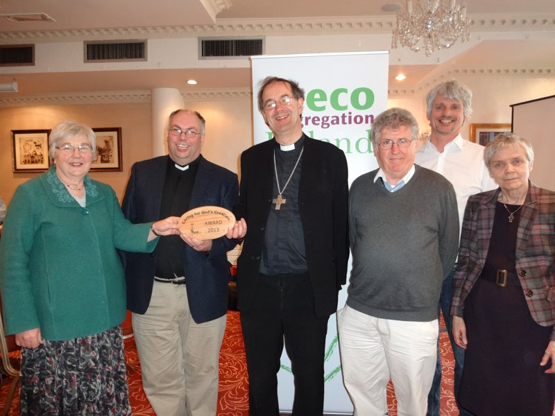 : Pictured at the 'Live Simply, Live Well' eco roadshow in Kilkenny's River Court Hotel are (from left): Janet Crampton, Rev Andrew Orr, Rector of Tullow, the Right Rev Michael Burrows, Fr Seán McDonagh SSC, Gavin Harte, and Catherine Brennan SSL, chairperson of Eco-Congregation Ireland