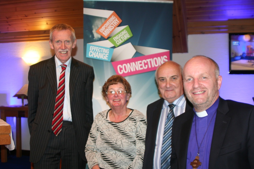 Judge Derek Rodgers, Chancellor, with Synod Members Robert Buckley and Jean Glenholmes from Kilwaughter and Cairncastle with All Saints, Craigyhill, and the Bishop of Connor, the Rt Rev Alan Abernethy at Connor Diocesan Synod in St Bridgid's, Mallusk.