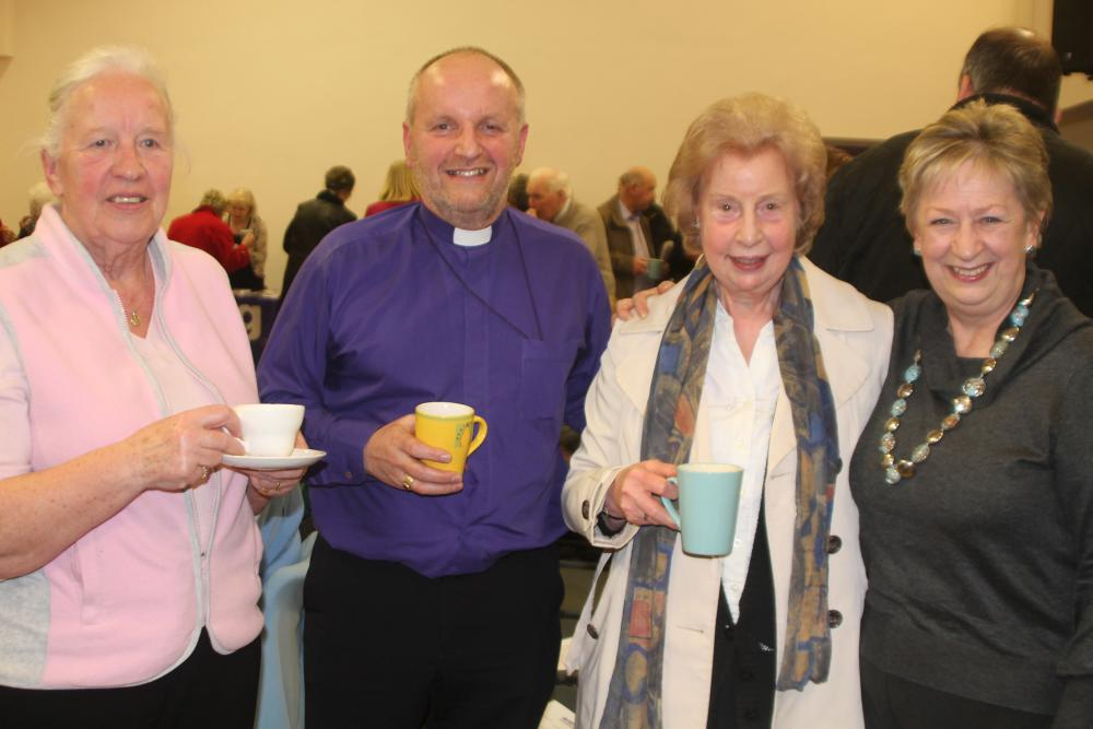 The Bishop of Connor, the Rt Rev Alan Abernethy, with Marina Bradley, Florence Miller and Alana Gibson at the Jordanstown Lent talk. The ladies are all members of St John's, Whitehouse.