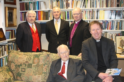 At the opening of the new library at St Anne's Cathedral, Belfast, are, from left: Paul Gilmore, John Killen, Archbishop Richard Clarke, Dean John Mann and Sir Donald Murray (seated).