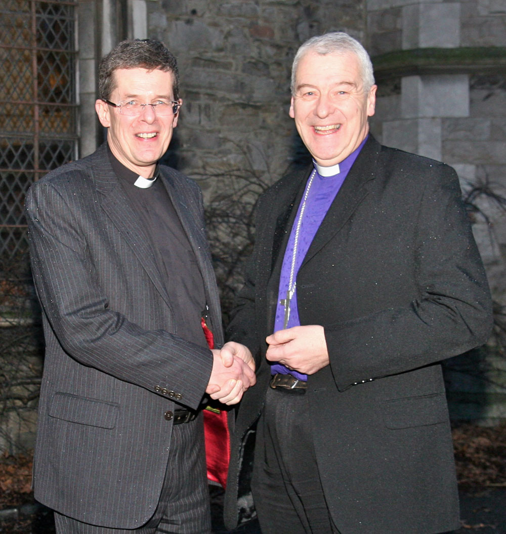 The Bishop Elect of Meath and Kildare, the Venerable Leslie Stevenson (left) pictured with the Archbishop of Dublin, the Most Revd Dr Michael Jackson, outside Christ Church Cathedral, Dublin, this evening (January 28) following today's electoral college