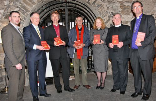 At the launch of Cumann Gaelach na hEaglaise's bilingual services book in Christ Church Cathedral were Dr Gearóid Trimble of Foras na Gaelige; chairperson of Cumann Gaelach na hEaglaise, Daíthí Ó Maolchoille; the Bishop of Bangor, the Right Revd Andrew John, Cynog Dafis, Canon Nia Catrin Williams, the Revd Gwynn ap Gwilyn and Bishop of Cashel and Ossory, the Right Revd Michael Burrows.