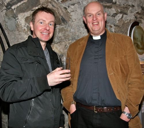 Gordon McCoy and Archdeacon Gary Hastings, rector of Galway, at the launch of Cumann Gaelach na hEaglaise's Bilingual Services book in Christ Church Cathedral.